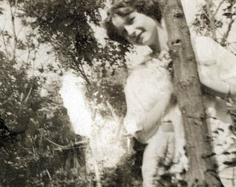 Vintage Photo 1917 June Lady Looks around the Corner of a Tree So cute!