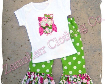 Girl Fall Owl Outfit Clothing Tshirt 3 6 9 12 18 24 Month SIZE 2T 3T 4T 5T 6 7 8 School Tee Pageant 1st day of Kindergarten Knit Pant Set
