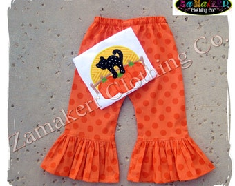 Custom Boutique Clothing Girl CAT PUMPKIN MOON Halloween Gift Tshirt Tee Costume Pant Outfit Set 3 6 9 12 18 24 month size 2T 3T 4T 5T 6 7 8