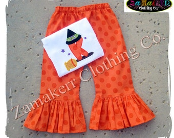 Custom Boutique Clothing Girl Halloween WITCH BROOM BABY Gift Tshirt Tee Costume Pant Outfit Set 3 6 9 12 18 24 month size 2T 3T 4T 5T 6 7 8