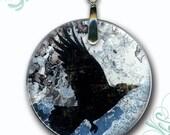 Raven Necklace - Reversible Glass Art Jewelry - Black Bird Jewelry - Black and Dusty Blue  with Silver Glass Art -  Ravens Dark Flight