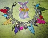 Easter Bracelet Bunny Charm Bracelet Bunny Jewelry Rainbow Bunnies Chunky Rabbits Peeps Marshmallow Inspired Bunny Bracelet Adult Teen Tween