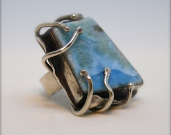 Larimar and Silver Ring - Caribbean Dream