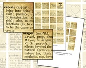 Beautiful Words 35 mm digital collage sheet set square 43 words from vintage dictionary