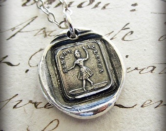 Always Glad wax seal necklace - Dance Necklace - A reminder to be Happy no matter what life brings you -Dancing Cirque Clown - IS280