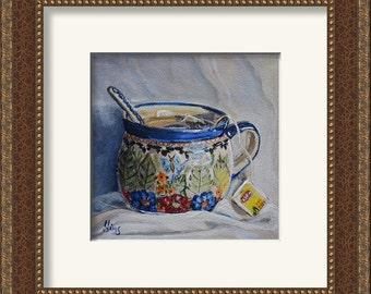 Polish Pottery mug still life tea art print, kitchen art, art for kitchen, print of  painting, giclee art,Heather Sims mat size options