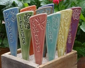 3 Vegetable Garden Markers - Vegetable Plant Marker - A set of 3 vegetable pottery garden stakes