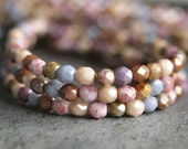 4mm Opaque Luster Mix Czech Glass Bead Firepolish  Faceted Round Bead : 50 pc Strand