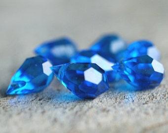 Czech Glass Capri Blue 6x10mm Teardrop : 6 pc
