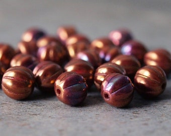 Red Bronze Luster Iris 8mm Czech Glass Bead Melon Round : 25 pc Full Strand