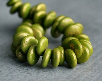 Olive Marbled Gold Czech Glass Bead 6mm Lentil : 50 pc