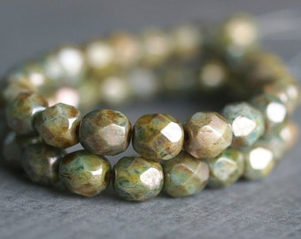 6mm Green Luster Picasso Czech Glass Bead 6mm Faceted Round : 25 pc Full Strand