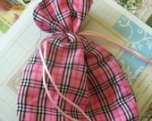 Two / Plaid Pink Fabric Drawstring Bags / Gift Bags / Party Favors