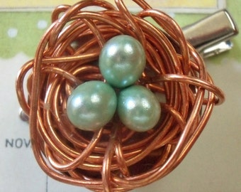 Copper Wire Bird's Nest Brooch with Pinback and Alligator Clip / Stamen Tips as Eggs