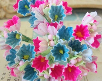 Forget Me Nots / Vintage Millinery / Bright Pink and Denim Blue / One Small Bouquet