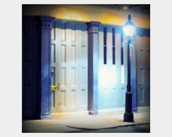 New Orleans Photo, Night Photography, Blue Gray Art, Lamp Post, French Quarter Photo, Night Time Photo, Street Light Photo, NOLA Art Print,
