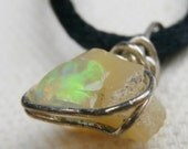 Welo Opal Necklace, Ethiopian, Sterling Silver Wrapped Pendant, Approx. 2 1/2 Carats of Raw, RUSTIC GLAM - Rare Stone
