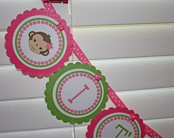 Girl Monkey Baby Shower Banner / Its A Girl Monkey Banner / Monkey Banner / Girl Monkey Banner / Its A Girl Banner / Girl Monkey Shower