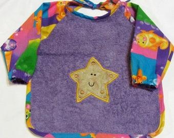 Starfish Sleeved Bib, 6-24 Months