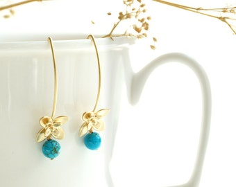 Gold Turquoise Earrings - December birthstone, hawaiian bridesmaid floral, tropical bridal jewelry, dangle small flower blue drop - Clematis
