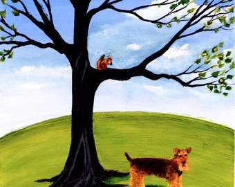 Airedale Welsh Terrier Dog Outsider ACEO Folk Art PRINT of Todd Young painting