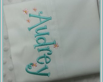 Personalized Pillowcase Light Teal with Light Pink flowers