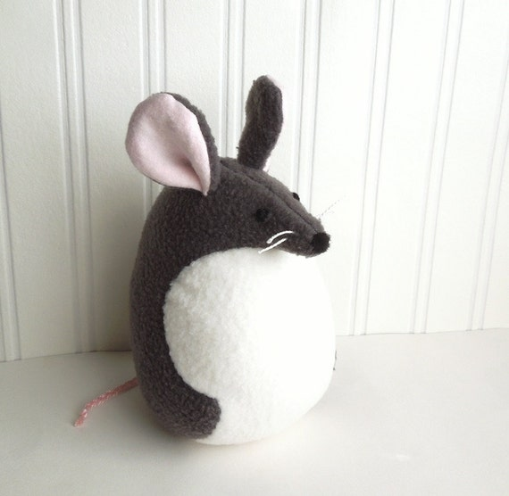Large Gray Mouse Stuffed Animal Handmade Plush Toy