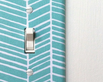 Light Switch Plate Cover - blue and white chevron - gifts under 25