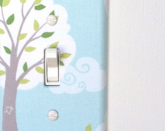 Light Switch Plate Cover, wall decor - blue with gray tree, clouds, and leaves