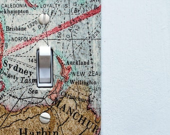 Fabric Covered Light Switch Plate Cover - Vintage Map