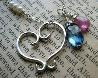 Sisters & Two Birthstone Necklace - Two Peas in a Pod - Twins Best Friends Sisters BFF-Heart Tattoo Design