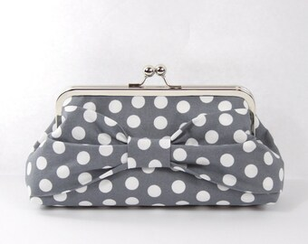 Bow Clutch, Bridesmaid Clutch, Gray Wedding Purse, Bridesmaids Gift, Gift for Her