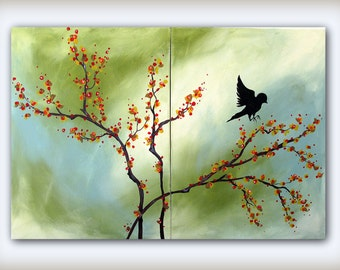 Green and Blue Fall Art Painting...Bird on a Bittersweet Branch...Modern Art Diptych Multi Panel Painting by HD Greer