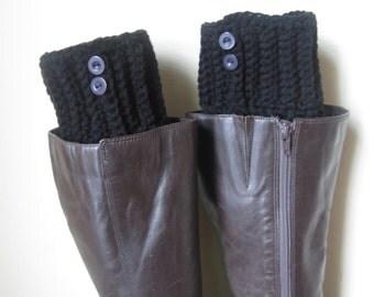 Boot socks,  boot cuffs, leg warmers,  BLACK, buttons,  Crochet Women Boot cuffs,  ribbed Boot Topper, boot socks, faux  boot socks, boho