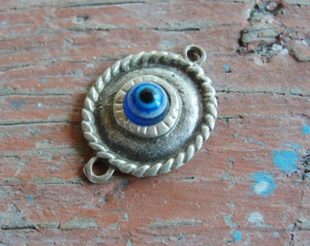 Silver Evil Eye Connector pendant