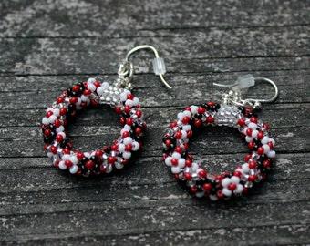 Black, Red, White Hoop Earrings