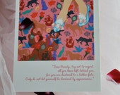 BEAUTY blank greeting card of beauty & the beast fairy tale from the faerie tale feet series by hallie m. gillett