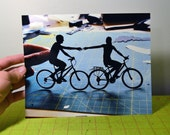 8x10 PRINT of hand-holding couple on a bike
