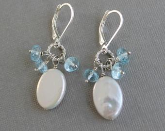 Bridal Earrings, Blue Topaz Coin Pearl Earrings, Something Blue, Gemstone Pearl Wedding Jewelry