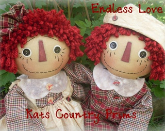 Primitive Raggedy Ann and Andy EPATTERN #160 Instant Download HAFAIR FAAP