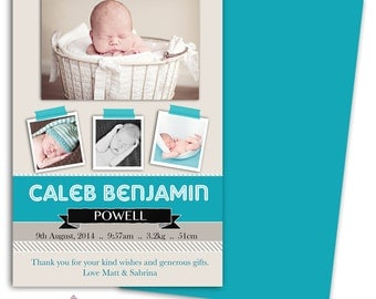 Photo Birth Announcement/Boy Baby Announcement/Personalized Birth Announcement/Boy/Baby Thank you card/Print yourself/free background