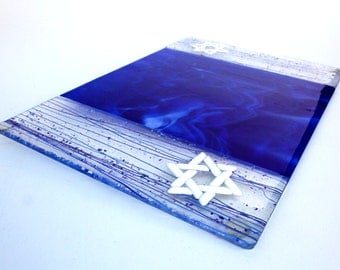 Blue and White Fused Glass Challah Platter