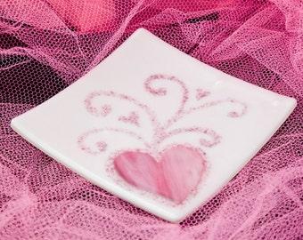 Pink and white iridescent heart plate swirls  6.5 x 6.5