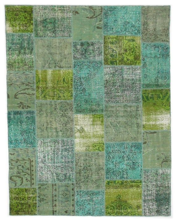 Items Similar To Turquoise And Lime Green Rug Patchwork