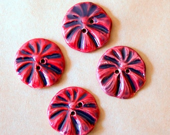 4 Handmade Stoneware Flower Buttons - Poppy buttons in Rich Magenta Purple