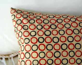 Circular Rhythms Modern Cushion / minimalist geometric bedding / red and black pillow / window seat / bench lumbar pillow /modern home decor