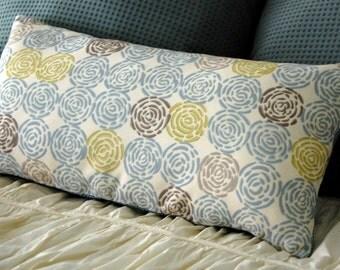 Saltillo Modern Cushion / minimalist bedding / neutral bench lumbar pillow / aqua blue and cream pillow / geometric circle modern pillow