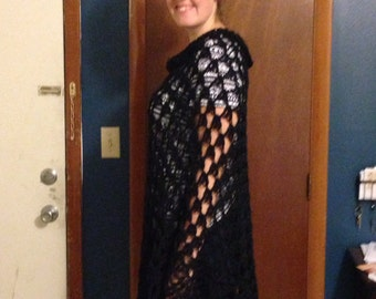 Poncho,Wraps, Shawls,Extra Tall, Crochet , Black