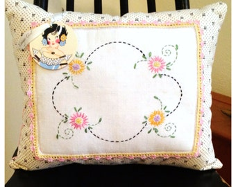 Cottage style and Shabby Chic Pink and Yellow Floral Vintage Embroidered Pillow made with Vintage Polka dot Fabric