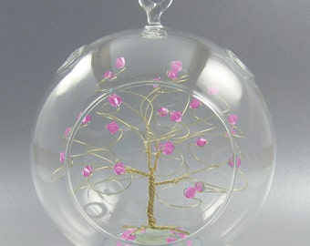 Christmas Ornament  Rose Pink Swarovski Crystal Elements and Gold October Crystal Christmas Ornament